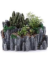 "T4U 7.75"" Chinese style mountain peak shape Sucuulent Cactus Plant Pots Flower Pots Planters DIY Containers Window Boxes Grey"