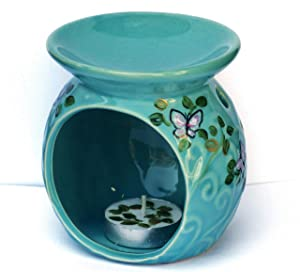 Turquoise Blue Ceramic Scented Oil Warmer Tea Light Holder Set Painted Butterfly Bohemian Decor Spring Decorations