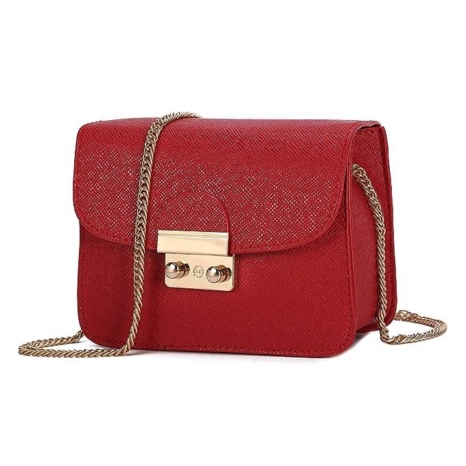 Bolso de Hombro pequeña de Mujer Bolso de Bandolera de Cuero PU Bolso de Mano Casual Moda Crossbody para niñas Señoras-Rojo
