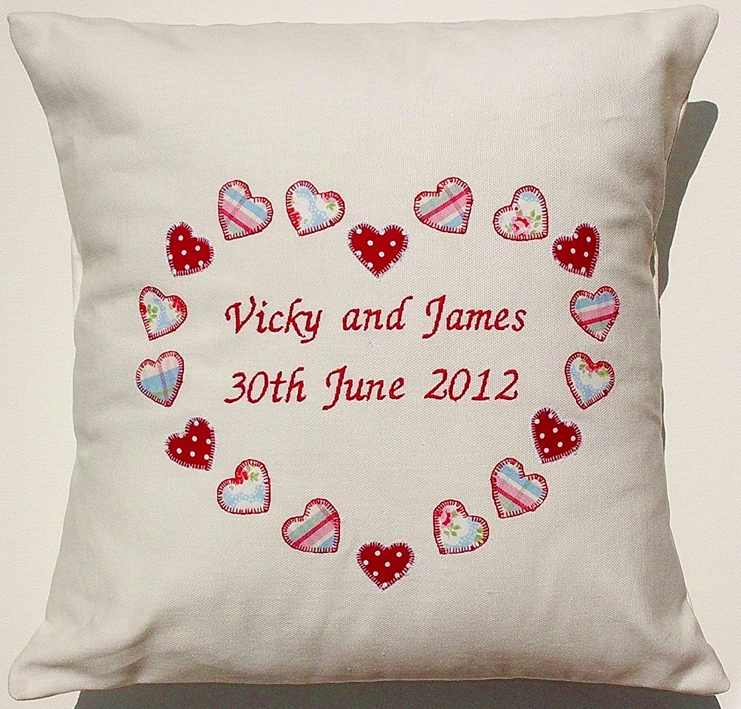 Personalised pillow cushion embroidered text baby birthday gift newborn