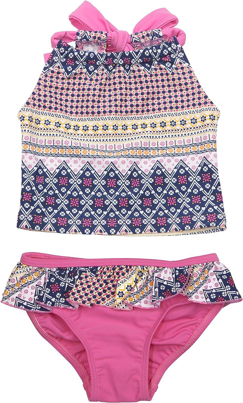Floatimini Little Girls Multi Floral Border Back Neck Tie Tankini Set
