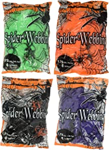 Set of 4 Spooky Stretchy Neon Colored Spider Webs! Green, Purple, Orange, Black! Perfect for Your Next Halloween Gathering! (4, Set of All 4 Colors)
