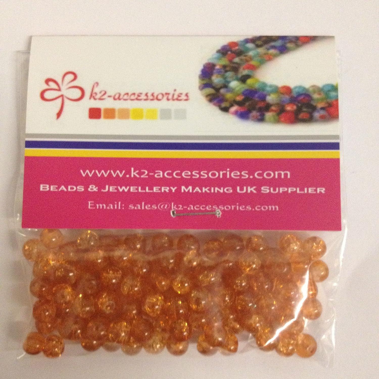 /A1629 /Orange/ 100/pcs 6/mm Perles de verre craquel/é/
