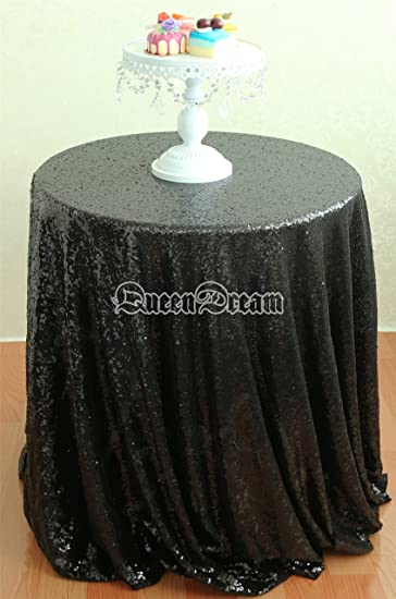 QueenDream 108u0027u0027Round Black Sparkly Halloween Tablecloths Fabric Sequin  Prom Tablecloth Table Cloth For