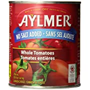 Amazon Canada Aylmer Whole Tomatoes No Salt Added 796ML (Pack of 12) $10.56 or DICED 8-Pack 796ML $7.04