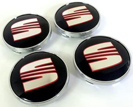 Set of Four Alloy Wheels Centre Hub Caps 60 mm Red Black Logo ...
