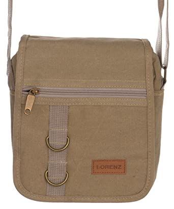 b461499b401 Unisex Travel   Work Canvas  Small Messenger  Style Shoulder Bag (Black,  Khaki