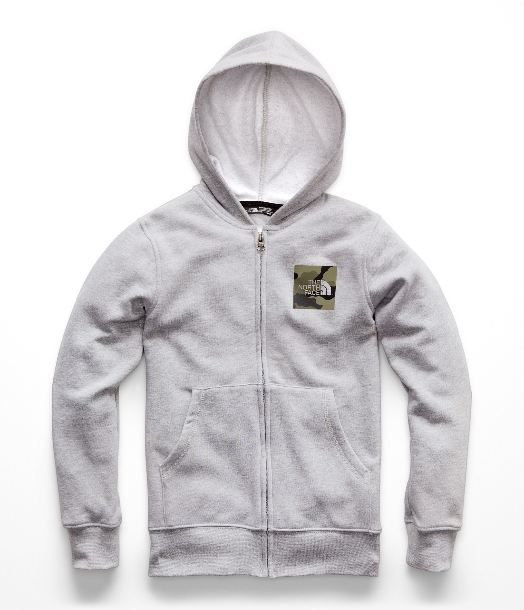 The North Face Boys Logowear Full Zip Hoodie - TNF Light Grey Heather & New Taupe Green - S