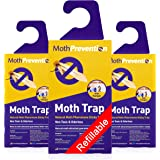 Powerful Moth Traps for Clothes Moths | 3-Pack | Refillable, Odor-Free & Natural from MothPrevention | Best Catch-Rate…