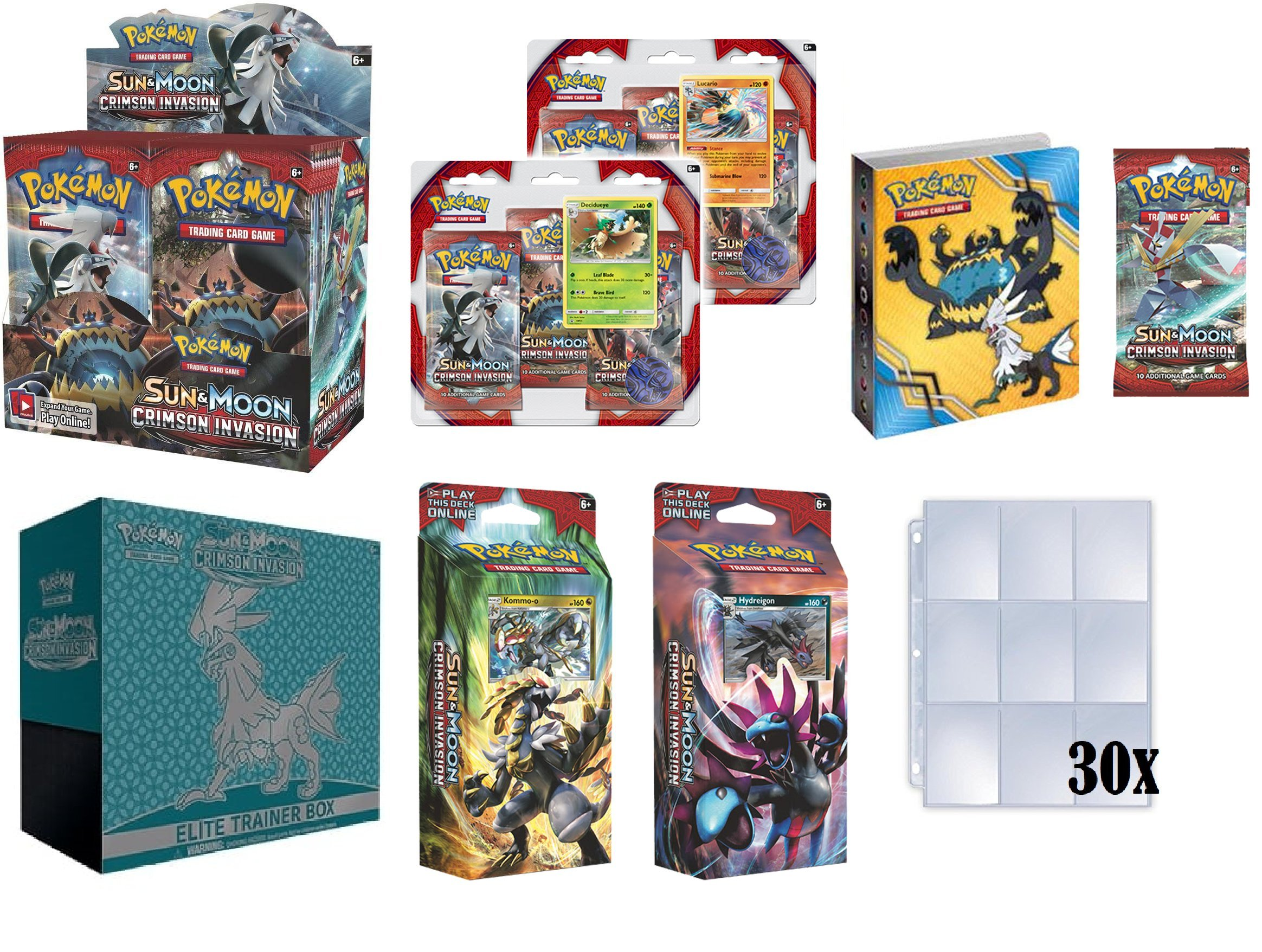 Pokemon TCG: Sun and Moon Crimson Invasion Ultimate Collectors Set Plus Bonus 30x9 Card Holder Pages (Booster Box, Elite Trainer, Both Theme Decks, Both 3 Pack Blisters, Mini Binder and Booster Pack) by Pokémon