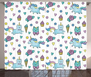 """Ambesonne Unicorn Cat Curtains, Girls Pattern with Hearts Stars Flowers Ice Cream Funny, Living Room Bedroom Window Drapes 2 Panel Set, 108"""" X 84"""", Blue"""