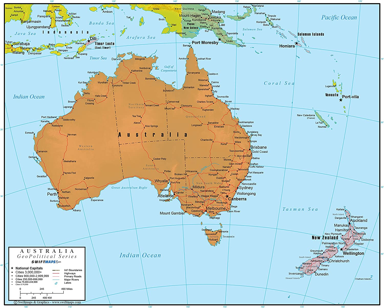 Swiftmaps Australia Wall Map GeoPolitical Edition (18x22 Laminated)