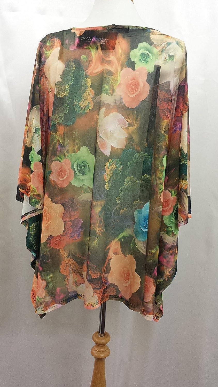 (KD-1408) Super Soft Black Roses Printed Polyester Mesh Stretching Short Kaftan (UK 10-32)