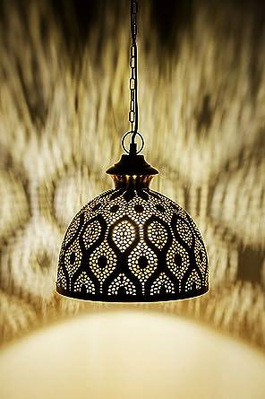 MAADES Orientalische Lampe Pendelleuchte Gold Afzal  2 32cm E27  Lampenfassung | Marokkanische Design Hängeleuchte Leuchte | Orient Lampen  Für ...