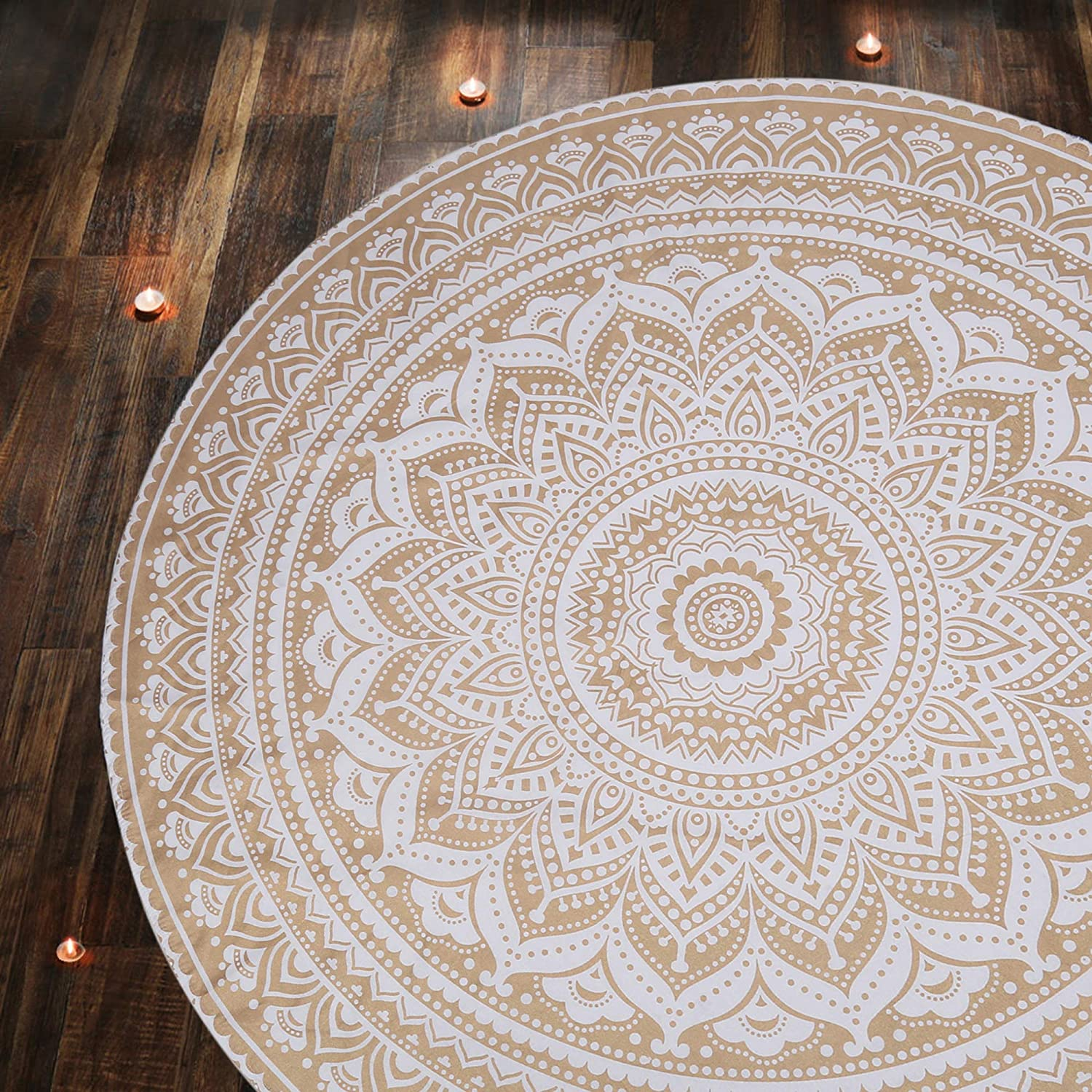 Hippie Mandala Tapiz Tapestries Cotton Bedding Bohemian Boho Beach Drom Room Decor Decorative Bedspread Wandteppich Tablecloth 48 inches Round Large Round Size Golden Tapestry Wall Hanging