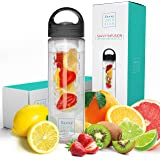 Savvy Infusion Water Bottle - 24 or 32 Ounce - Featuring Unique Leak-Proof Siliconed Sealed Cap w/ Handle - Includes…