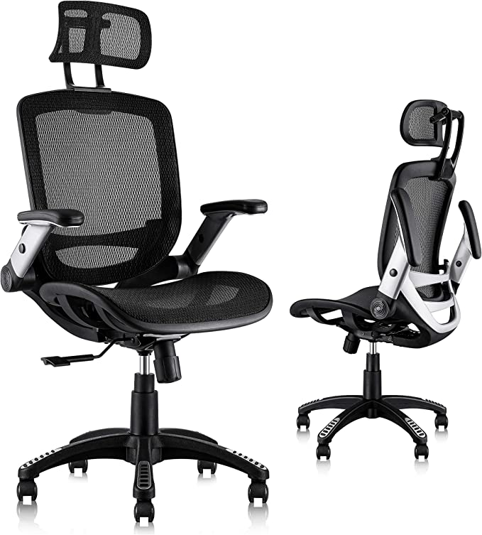 Amazon Com Gabrylly Ergonomic Mesh Office Chair High Back Desk Chair Adjustable Headrest With Flip Up Arms Tilt Function Lumbar Support And Pu Wheels Swivel Computer Task Chair Furniture Decor
