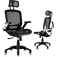 Gabrylly Ergonomic Mesh Office Chair, High Back Desk Chair - Adjustable Headrest with Flip-Up Arms, Tilt Function…