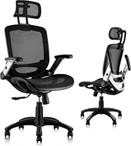Amazon Com Gabrylly Ergonomic Mesh Office Chair High Back Desk Chair Adjustable Headrest With Flip Up Arms Tilt Function Lumbar Support And Pu Wheels Swivel Computer Task Chair Office Products