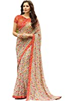 Craftsvilla Women's Georgette Printed Saree( Mavan29633579270_Multicolor)