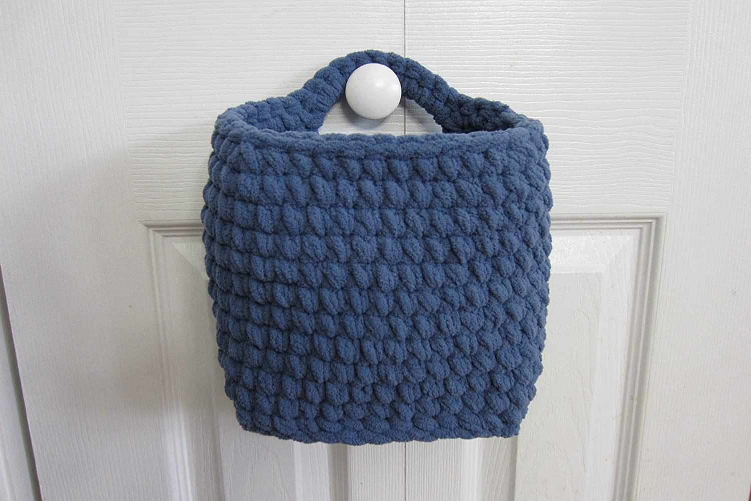 Large Hanging Basket, Rectangle Shaped, Crocheted Wall Baskets - Shown in Blue, Many Colors to Choose From!