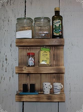 Möbel Wohnen Holz Gewürzregal Küchenschrank Küchenregal