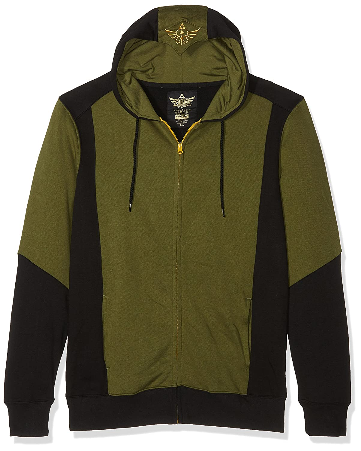 The Legend Of Zelda Green Triforce Sudadera capucha con cremallera negro-verde