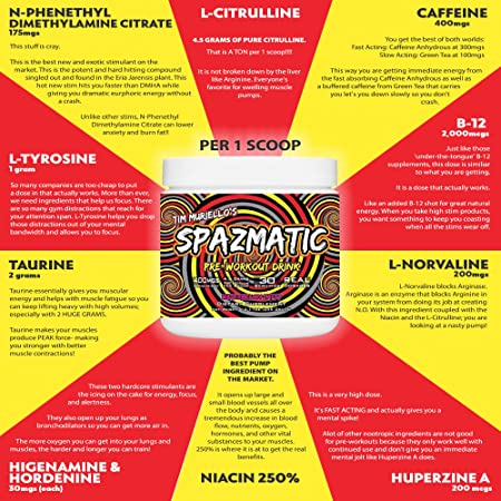 Tim Muriello s Spazmatic Pre Workout Ultra High Dosed – High Caffeine – Nitric Oxide Booster – Focus – WATERMELON TAFFY – 30 Servings