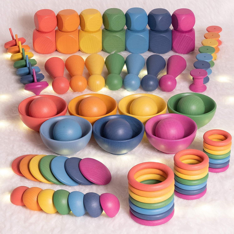 TickiT 74001 Rainbow-Juego de 7 Tuercas y Pernos de Madera