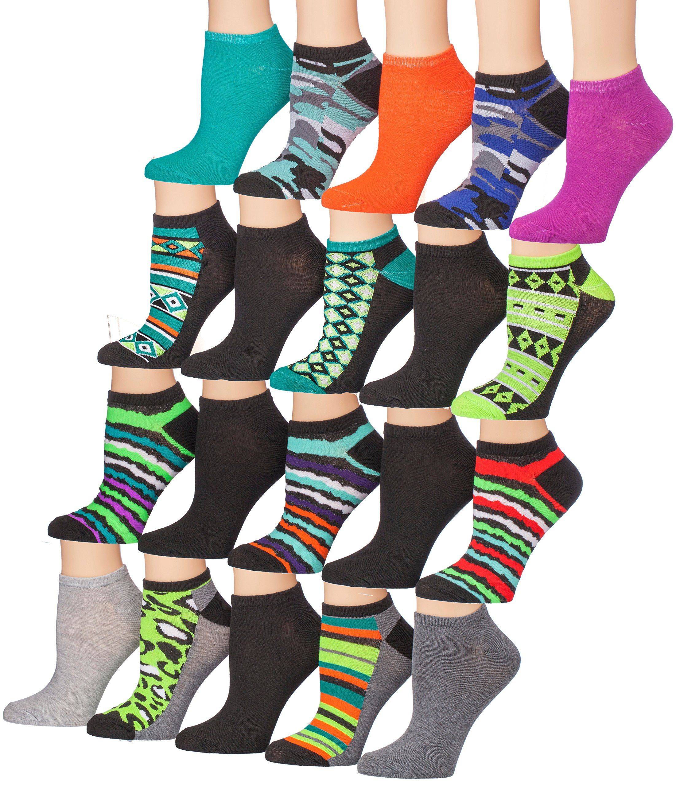 Tipi Toe Women's 20 Pairs Colorful Patterned Low Cut/No Show Socks (NS38-42)