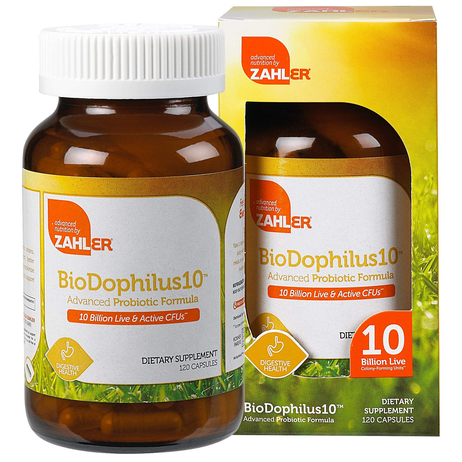 Zahler Biodophilus10, All Natural Advanced Probiotic Acidophilus Supplement, Promotes Digestive Health, 10 Billion Live Cultures and Intestinal Flora Per Serving, Certified Kosher,120 Capsules by Zahler