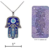 """Hamsa """"Hand of Fatima"""" symbol good luck charm necklace with informational card, 18"""" chain"""