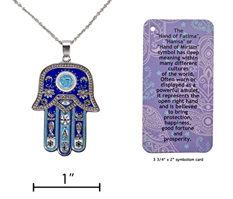 Amazon hamsa hand of fatima symbol good luck charm necklace hamsa quothand of fatimaquot symbol good luck charm necklace with informational aloadofball Gallery