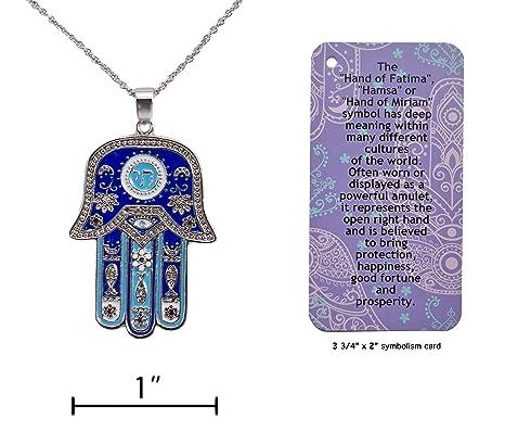 Amazon hamsa hand of fatima symbol good luck charm necklace hamsa quothand of fatimaquot symbol good luck charm necklace with informational aloadofball Images