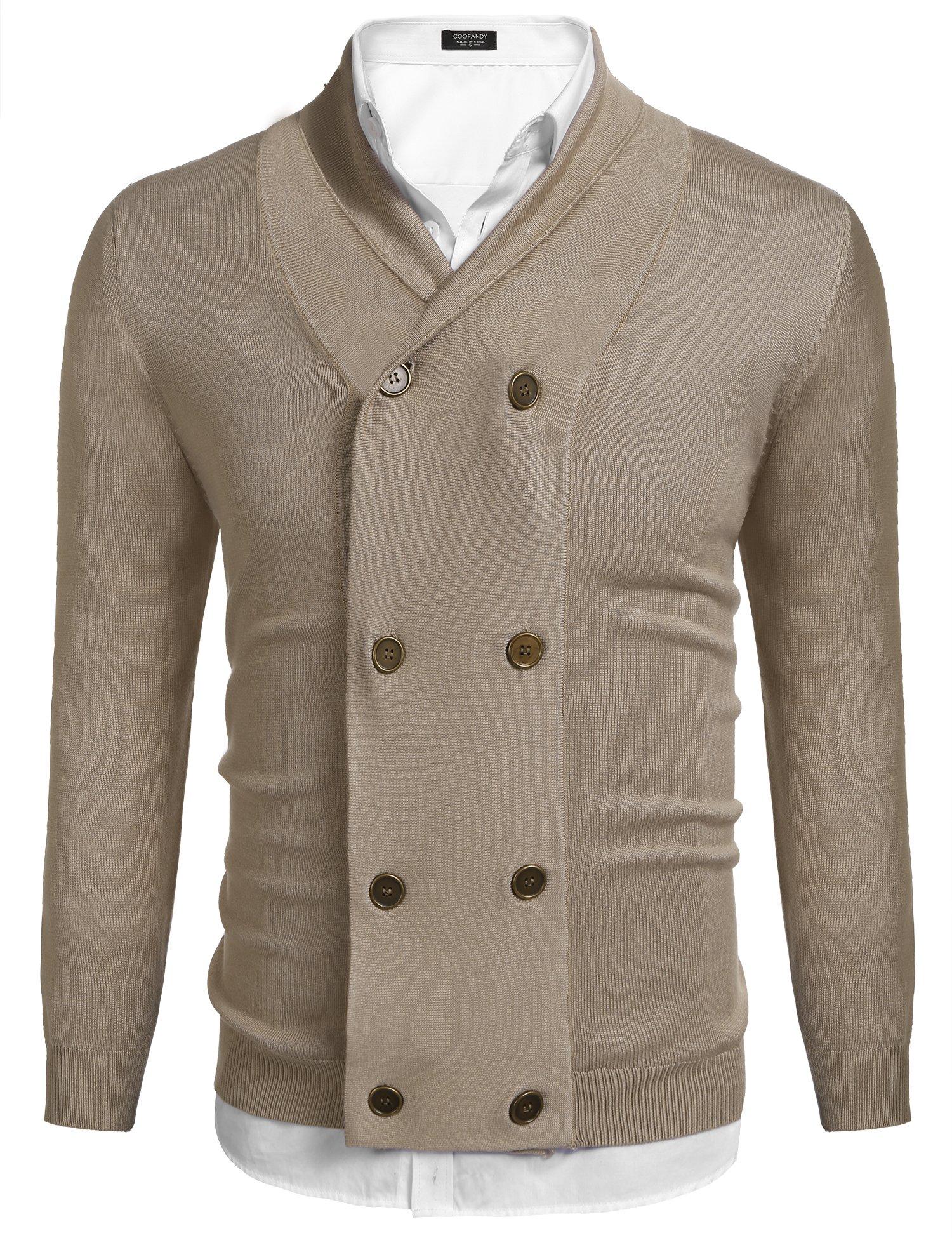Coofandy Mens Slim Fit V-Neck Shawl Collar Cardigan Sweaters With Ribbing Edge