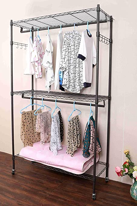 Hindom 2 Rod Closet Garment Rack With Wheels And Side Hooks, 3 Tiers Large