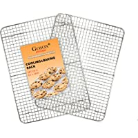 Goson Heavy Duty Stainless Stain Bakeware, Baking, Cooling, Oven Roasting, Broiler Rack, Cross Wire, Pack of 2, Compatible with Various Baking Sheets Oven Pans