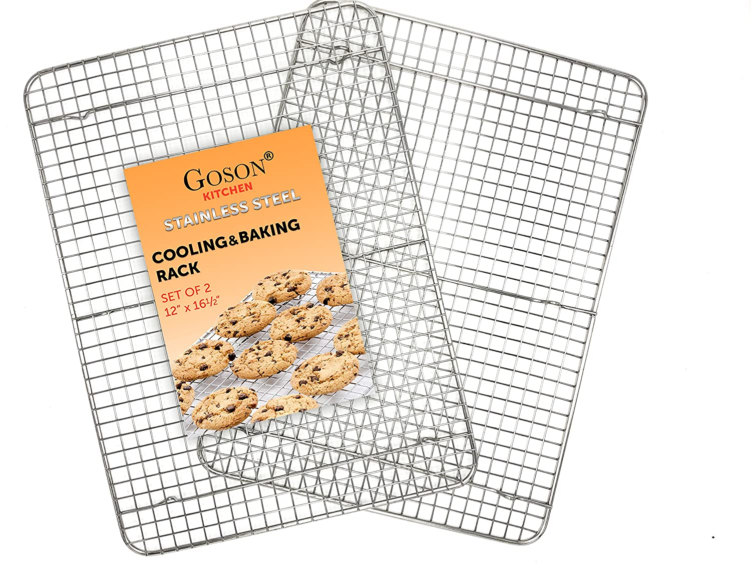 "Goson Kitchen Stainless Steel Heavy Duty Metal Wire Cooling, Cooking, Baking Rack For Baking Sheet, Oven Safe up to 575F, Dishwasher Safe Rust Free | 12""x16""; SET OF 2"