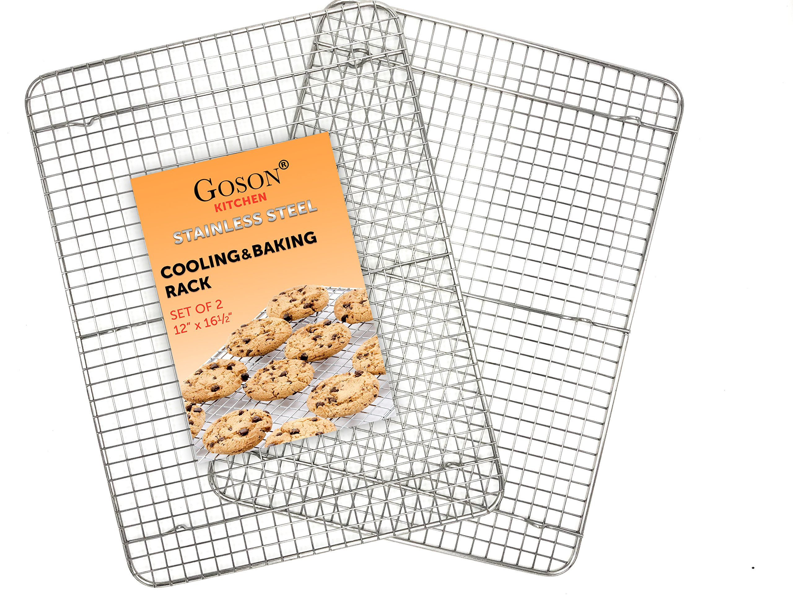 Goson Heavy Duty Stainless Steel Bakeware, Baking, Cooling, Oven Roasting, Broiler Rack, Half Size - 12in x 16.5in, Cross Wire, Pack of 2, Compatible with Various Baking Sheets Oven Pans