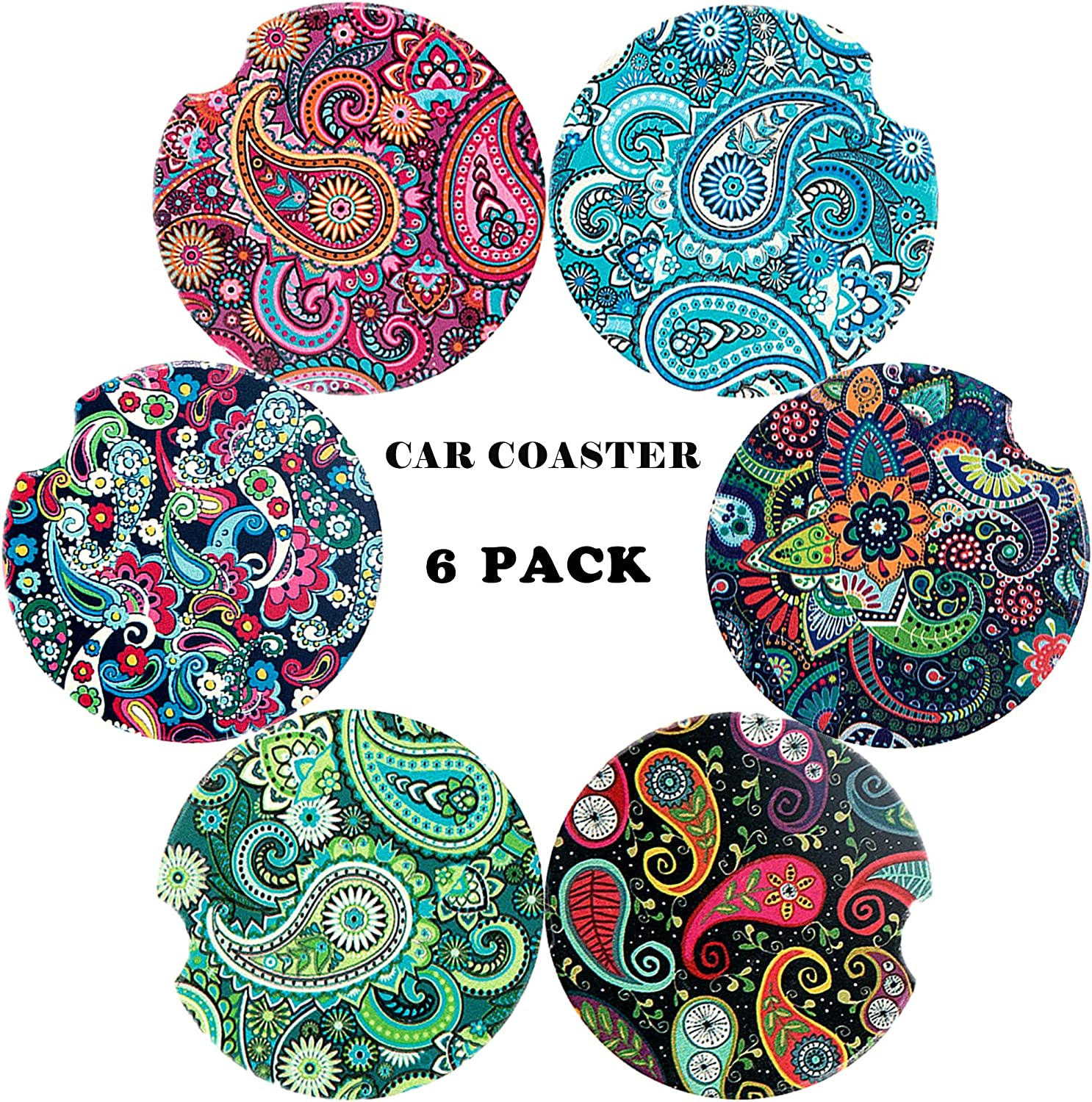 Sansoak Car Coaster Absorbent Mandala Ceramic Car Cup Holder Keeps Vehicle Cup Holders Clean of Cold Drink Spills and Condensation 4 Pack Ceramic Stone with A Finger Notch for Easy Removal