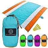 ECCOSOPHY Sandproof Beach Blanket - Oversized Sand Free Beach Mat 9'x10' - Lightweight Outdoor Mat - Double Anchored with 4 C