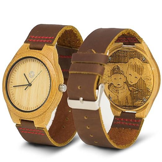 Personalizada de madera reloj grabado con foto o mensaje - personalizada correas y tamaños de la de los hombres y las mujeres: ChiselTree: Amazon.es: ...