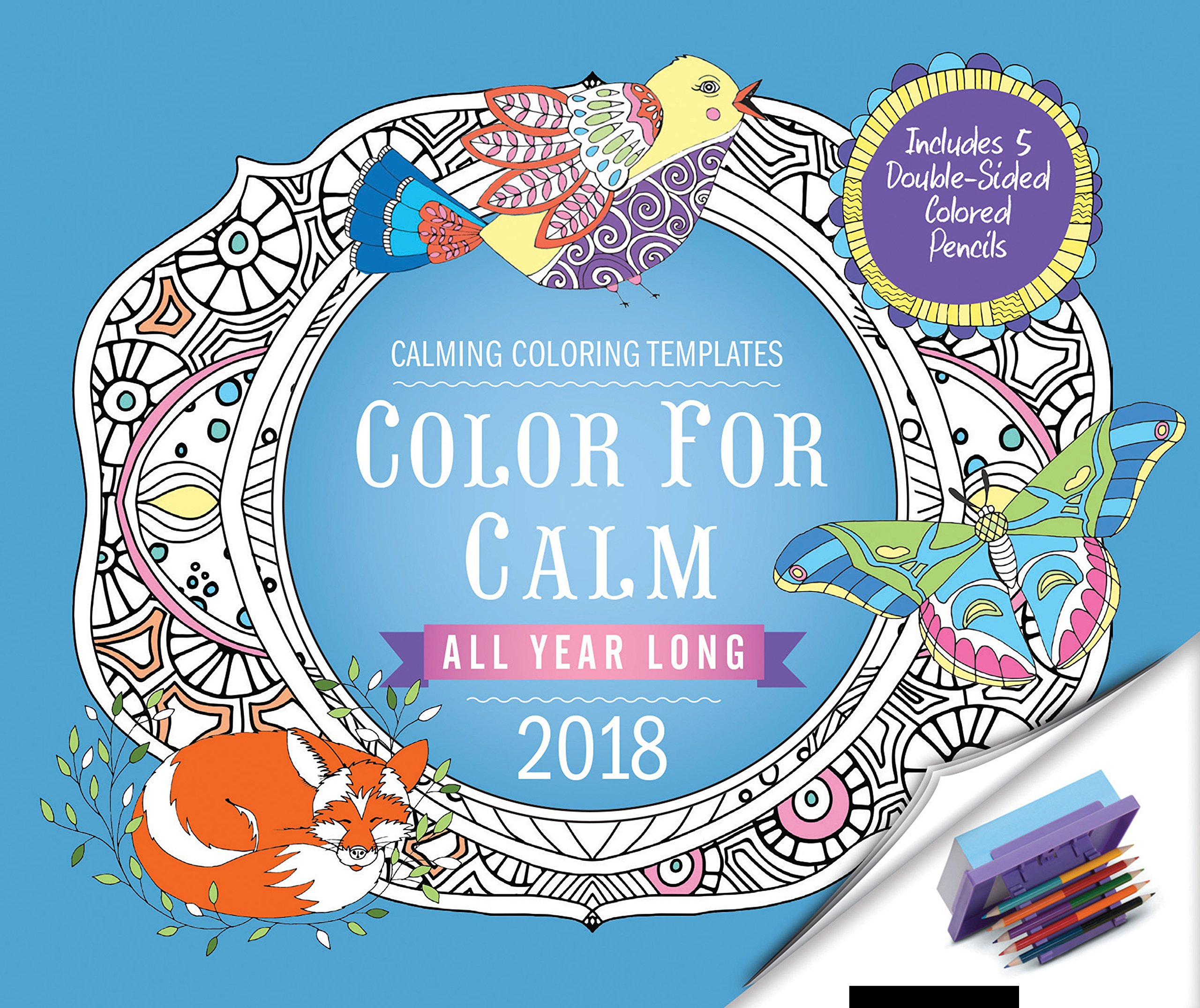 Color for Calm All Year Long 2018: Box Calendar with Colored Pencils attached to Base PDF