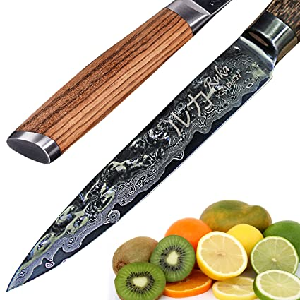 Cuchillo de acero inoxidable Damasco 13cm, aspecto martillado, acero japonés VG-10 afilado 67 capas, cuchillo Alzweck damasco con mango ergonómico