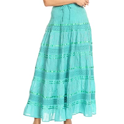 Sakkas 0604 Lace and Ribbon Peasant Boho Skirt - Aqua - OS at Women's Clothing store
