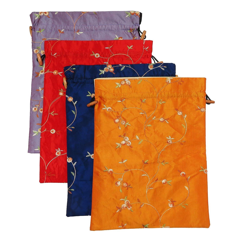 DODOGA 刺繍入りシルクフラワーデザインジャカード旅行バッグ ランジェリーバッグ 下着バッグ ランドリーバッグ シューズバッグ 旅行ストレージ メンズ レディース 洗濯可能な布製シューズバッグ 4点セット B07KQT183H