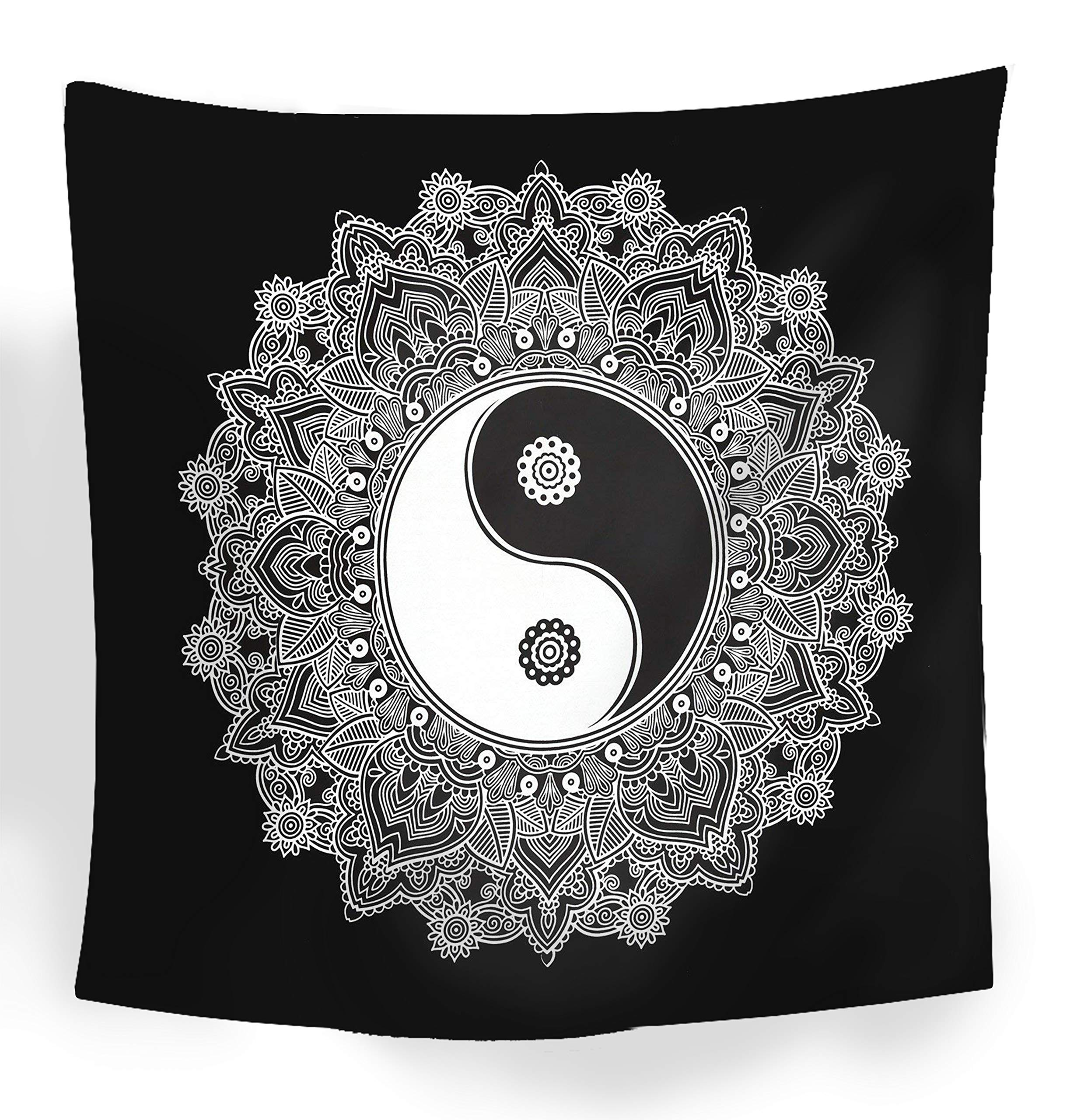 Black And White Tapestry, YinYang Wall Hanging Tapestry, Mandala Tapestries, Indian Traditional Cotton Printed Bohemian Hippie Large Wall Art by SheetKart by SheetKart