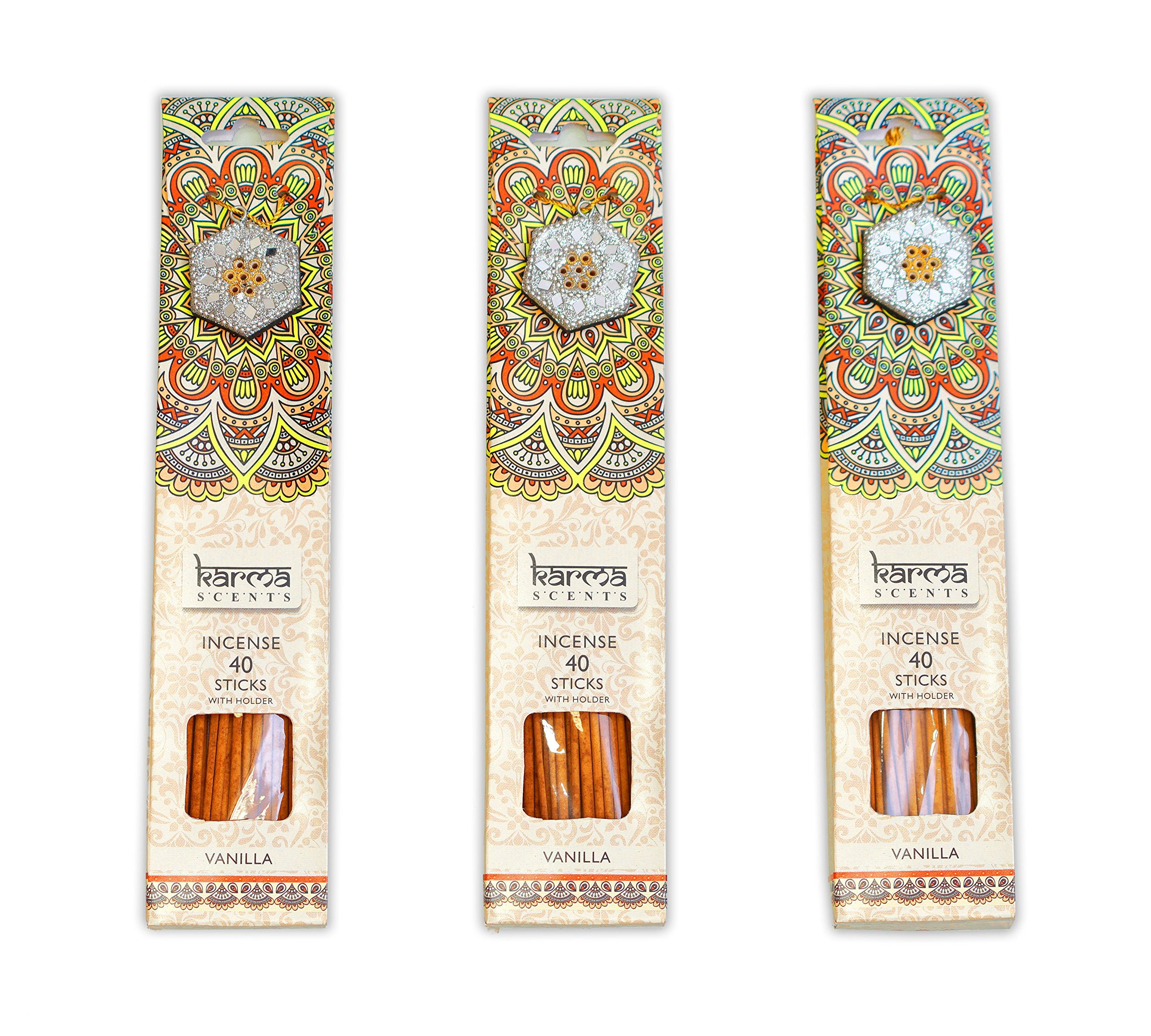 Premium Incense Sticks 3 Pack Gift Set With A Sparkly Holder In Each Box 120 Sticks (Vanilla)