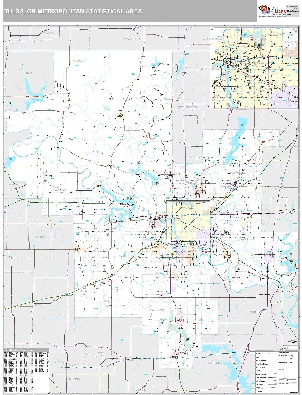 Amazon.com: MarketMAPS Tulsa, OK Metro Area Wall Map - 2018 - ZIP ...