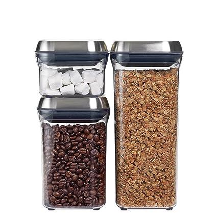 Amazon Com Oxo Steel 3 Piece Airtight Food Storage Pop Container